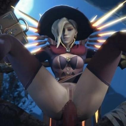 [Overwatch] 魔女コスプレのマーシーさんのエロ動画 [3DCG]