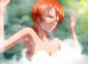 【ワンピース】ナミさんが風呂場で透明人間に犯される!(アニメシーン・キャプ・GIFアニメ)