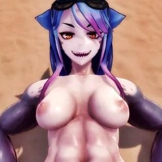 【Monster Girl Island】筋肉がどエロいサメ娘とビーチでラブラブSEX!筋肉ズリやパイズリなど・・・【3Dアニメ,エロゲ】