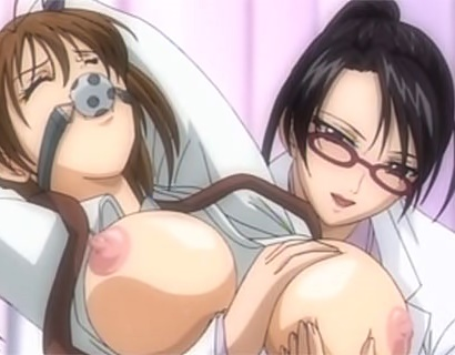 【エロアニメ】女子校生がメガネ美人の保険医とデブ男のデ〇チンに責められて本気イキ!