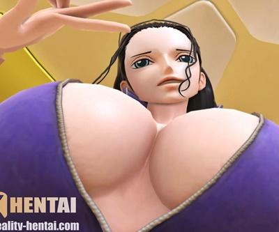【ワンピース】ロビンが疑似騎乗位で巨乳揺らしてアヘ顔Wピース&痙攣アクメするVRエロ動画 (SFM,VR)