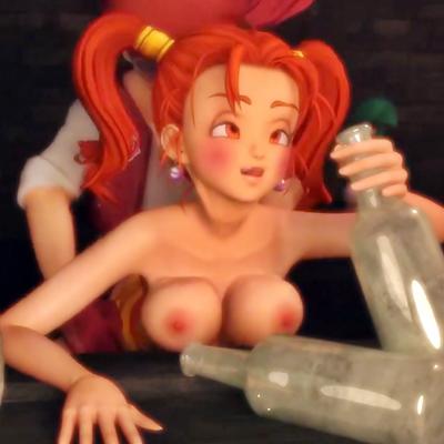 【ドラクエ】泥酔したゼシカが酒場でバックからパンパン突かれまくる3DCG動画