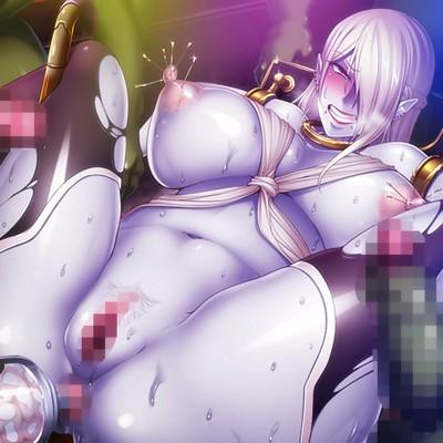 【対魔忍決戦アリーナ】惨めな身体改造をされた青肌デュラハン娘がオークの極太イボイボペ〇スで公開レイプショー!