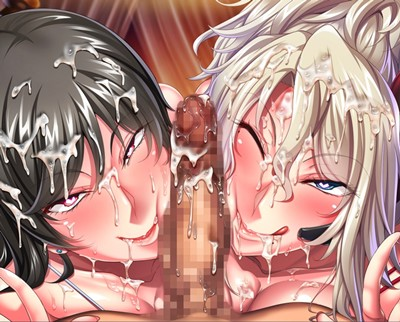 【監獄アカデミア】洗脳調教で陥落した二人の女将校が濃厚ダブルフェラでご奉仕!!