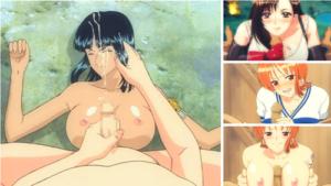 【ワンピース・FF7】有名アニメキャラにパイズリフェラでぶっかけ!(ナミ、ロビン)