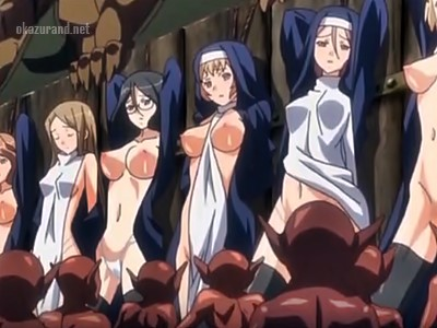 【異種姦】魔物たちがシスターを並べて順番に処女レ〇プ!!