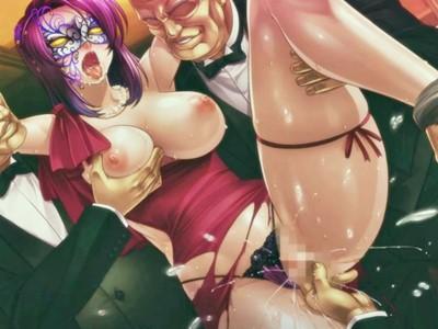 【対魔忍アサギRPG】仮面の対魔忍が潜入任務で乱交パーティーに!疑われないようにオヤジたちに輪姦されるも…..?(甲河朧)