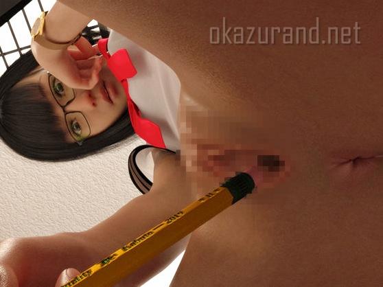 【3Dアニメ】図書館でスリル満点のオナニーしちゃう貧乳少女!