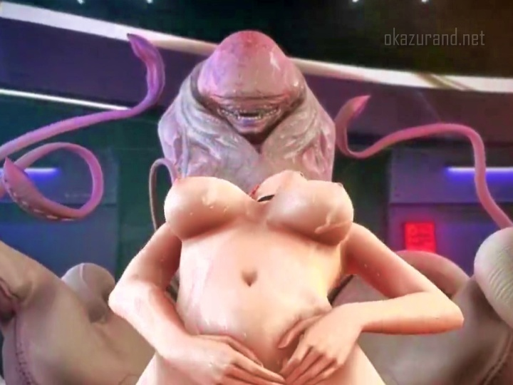 【強姦・異種姦】女盗賊がチ〇コの擬人化のような宇宙生物に凌辱されて発狂アクメ!