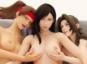 【FF7リメイク】ティファ、エアリス、ジェシーが三人でレズSEXする3Dアニメ