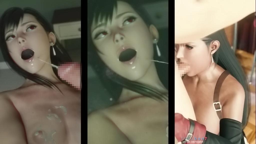 [ファイナルファンタジーVII リメイク] ティファのフェラチオ3Dアニメ総集編 キャプチャー 11
