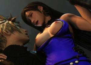 【FF7R】ティファとクラウドが花園で青姦中出しする3Dアニメ
