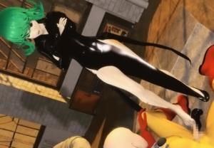 【ワンパンマン】タツマキちゃんの美脚に足コキされて情けなく射精しちゃうサイタマの3Dアニメ