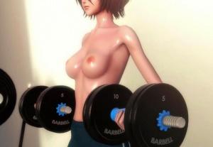 【BLEACH(ブリーチ)】朽木ルキアがジムで筋トレ→膣トレする3Dアニメ!引き締まったスレンダーボディがエッロい!!