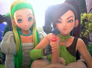 【ドラクエ11】マルティナとセーニャが手コキ・玉揉みしてくれる3Dアニメ