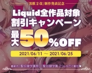 【速報】『黒獣2 改』製作発表記念!Liquidの全作品対象、最大50%OFFキャンペーン開催中!(6/25まで)